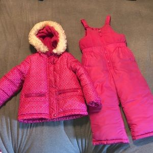 Pink OshKosh B'gosh snow suit and matching jacket